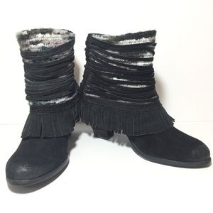 NM Black Suede Leather Fringed Distressed Boots